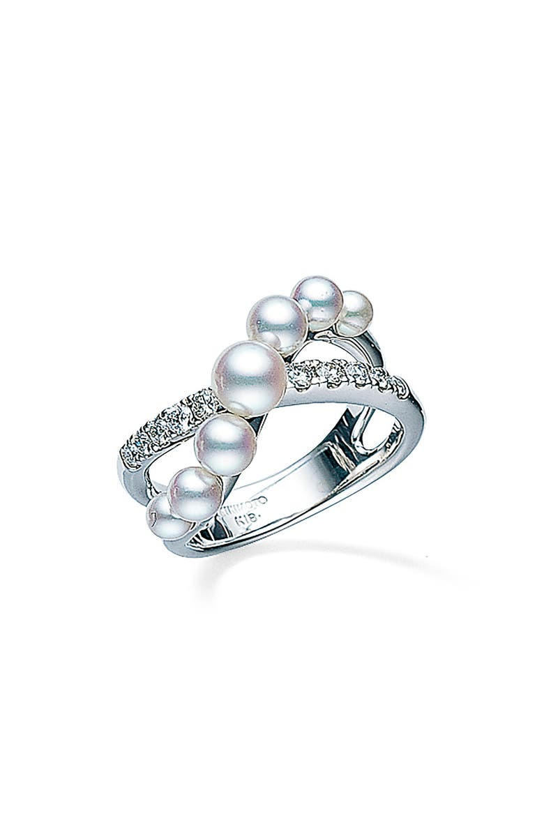 MIKIMOTO Japan Collections Pearl & Diamond Ring, Main, color, WHITE GOLD/ PEARL