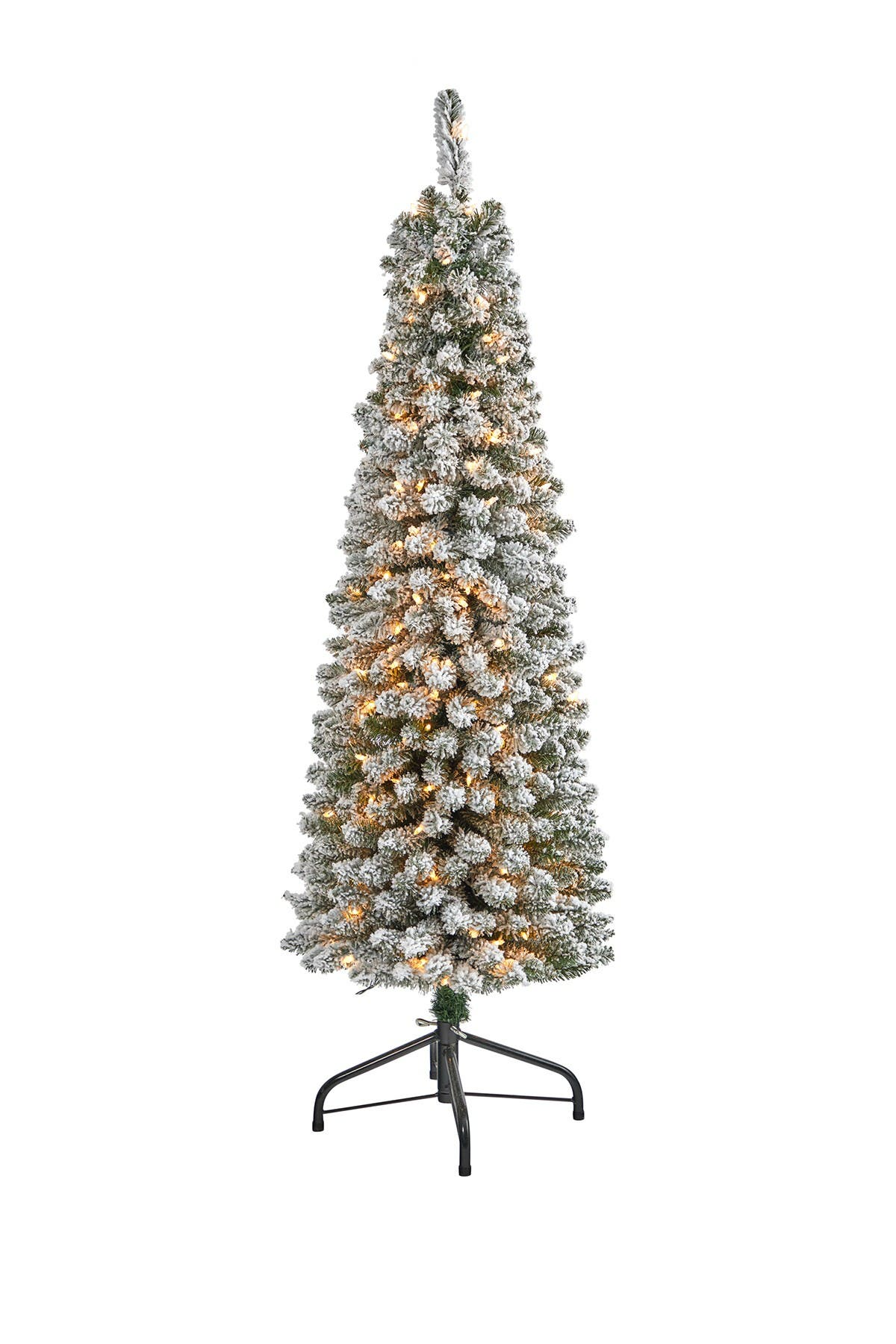 Image of NEARLY NATURAL 5ft. Flocked Pencil Artificial Christmas Tree with 200 Clear Lights