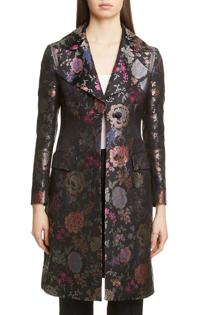 ETRO Floral Jacquard Three-Quarter Jacket, Main, color, 001