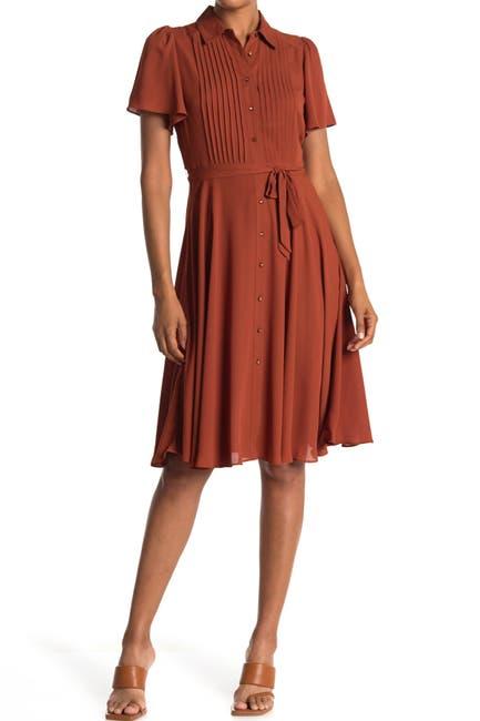 Image of NANETTE nanette lepore Flutter Sleeve Pintuck Bodice Dress