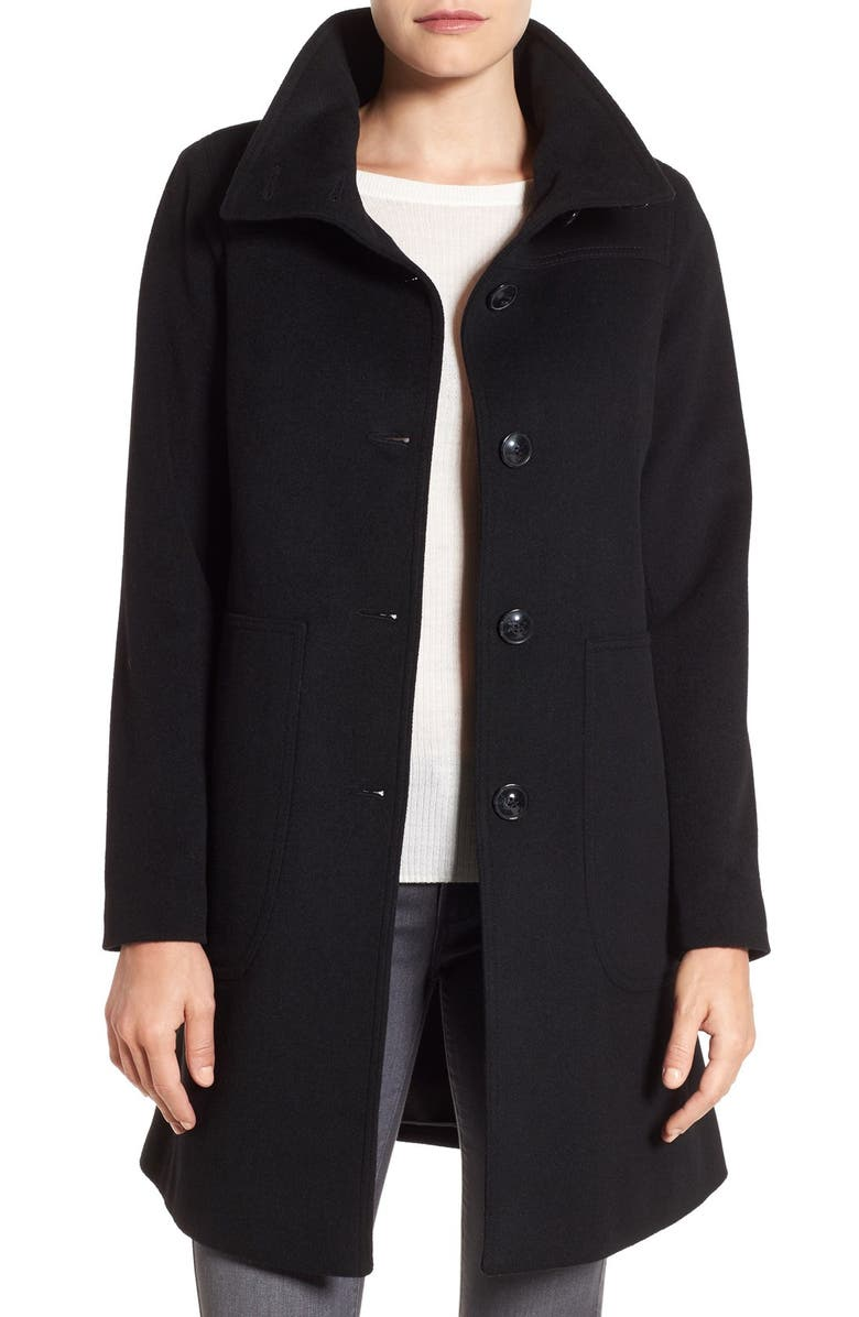 KRISTEN BLAKE Funnel Neck Wool Blend Coat, Main, color, 001