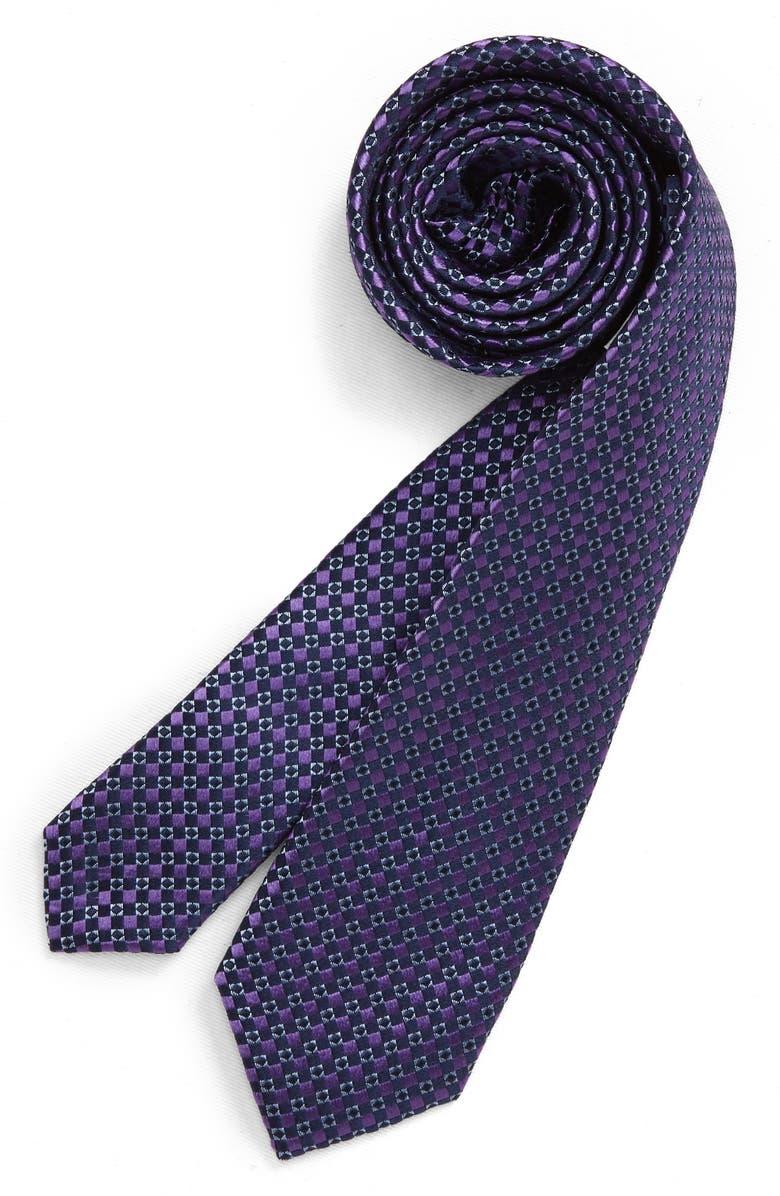 NORDSTROM Alexis Geo Silk Tie, Main, color, PURPLE