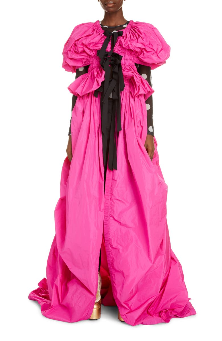 DRIES VAN NOTEN Rama Puff Sleeve Tie Front Gown, Main, color, FUCHSIA