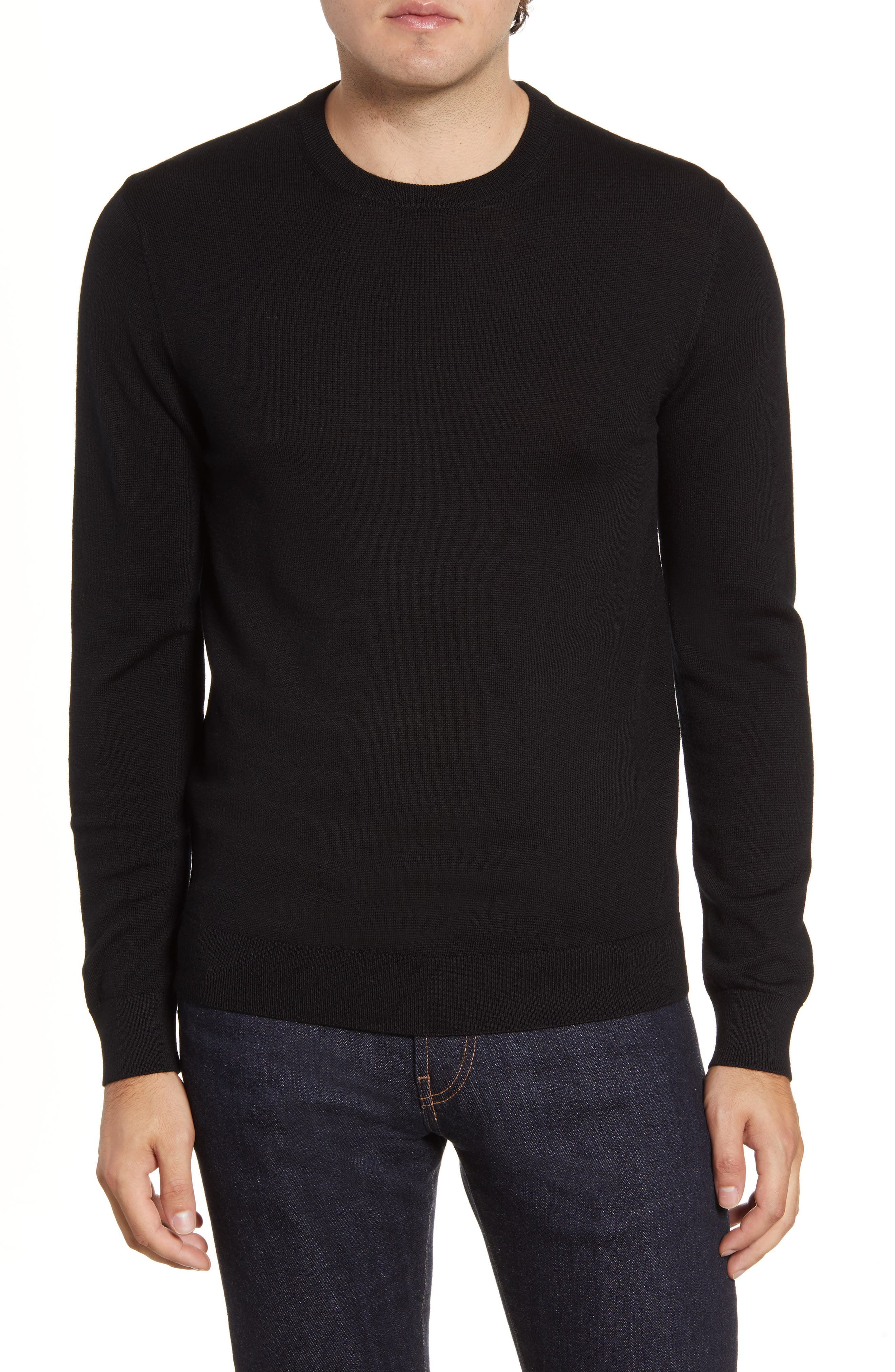Slim and modern, this handsome crewneck sweater is knit in rich merino wool and framed in soft ribbed trim. Style Name: Bonobos Slim Fit Merino Wool Crewneck Sweater. Style Number: 5901825. Available in stores.