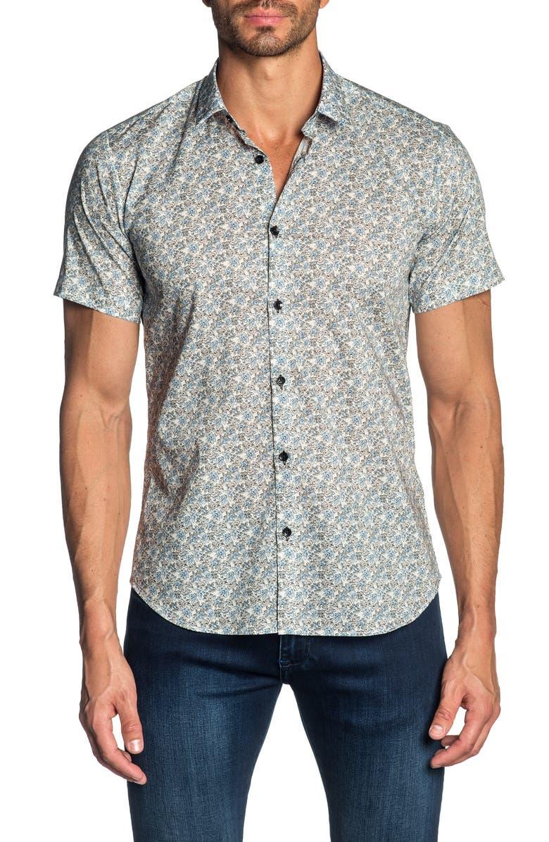 JARED LANG Trim Fit Floral Print Cotton Sport Shirt, Main, color, 100