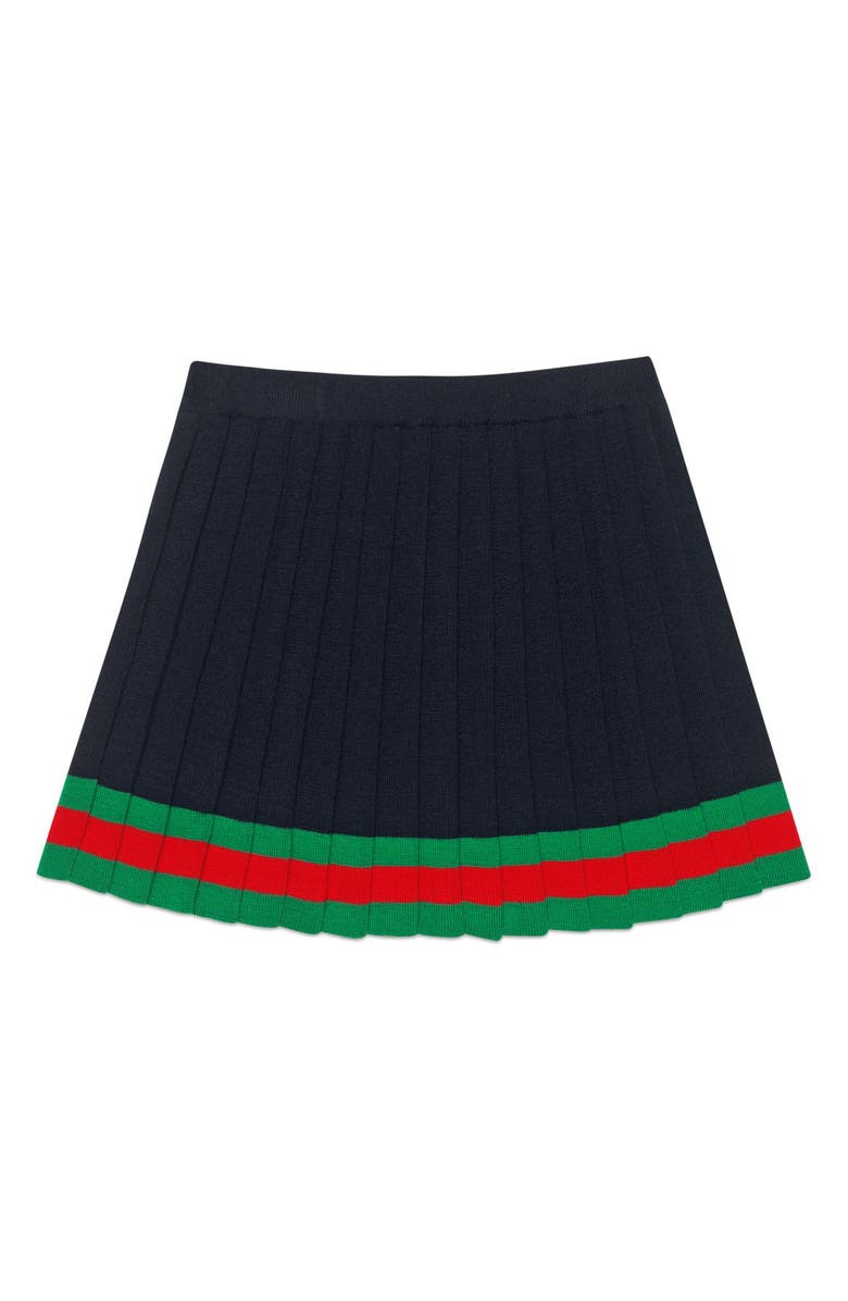 GUCCI Pleated Wool Knit Skirt, Main, color, NAVY/ SHAMROCK/ L.RED