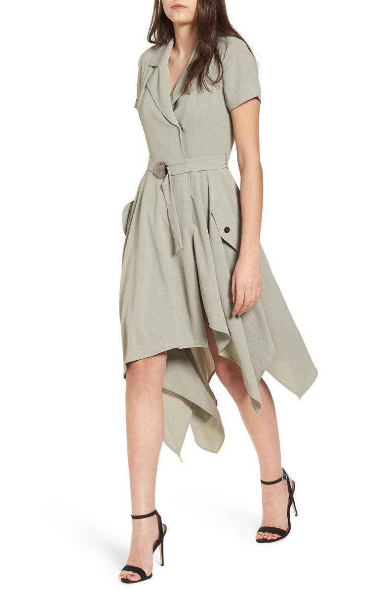 J.O.A. Chriselle x J.O.A. Asymmetrical Trench Dress, Main, color, 300