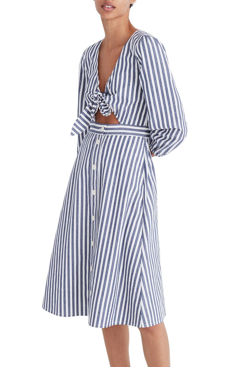 MADEWELL Shimmer Stripe Cutout Midi Dress, Main, color, 400