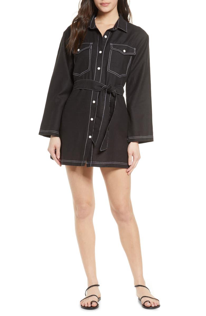 DOLCE VITA Denim Style Cover-Up, Main, color, BLACK