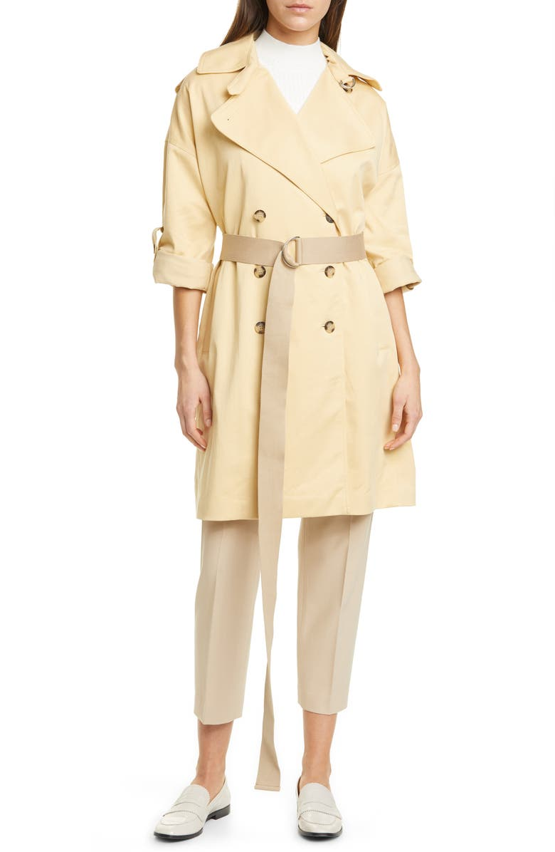 CLUB MONACO Belted Double Breasted Trench Coat, Main, color, CHAMOMILE