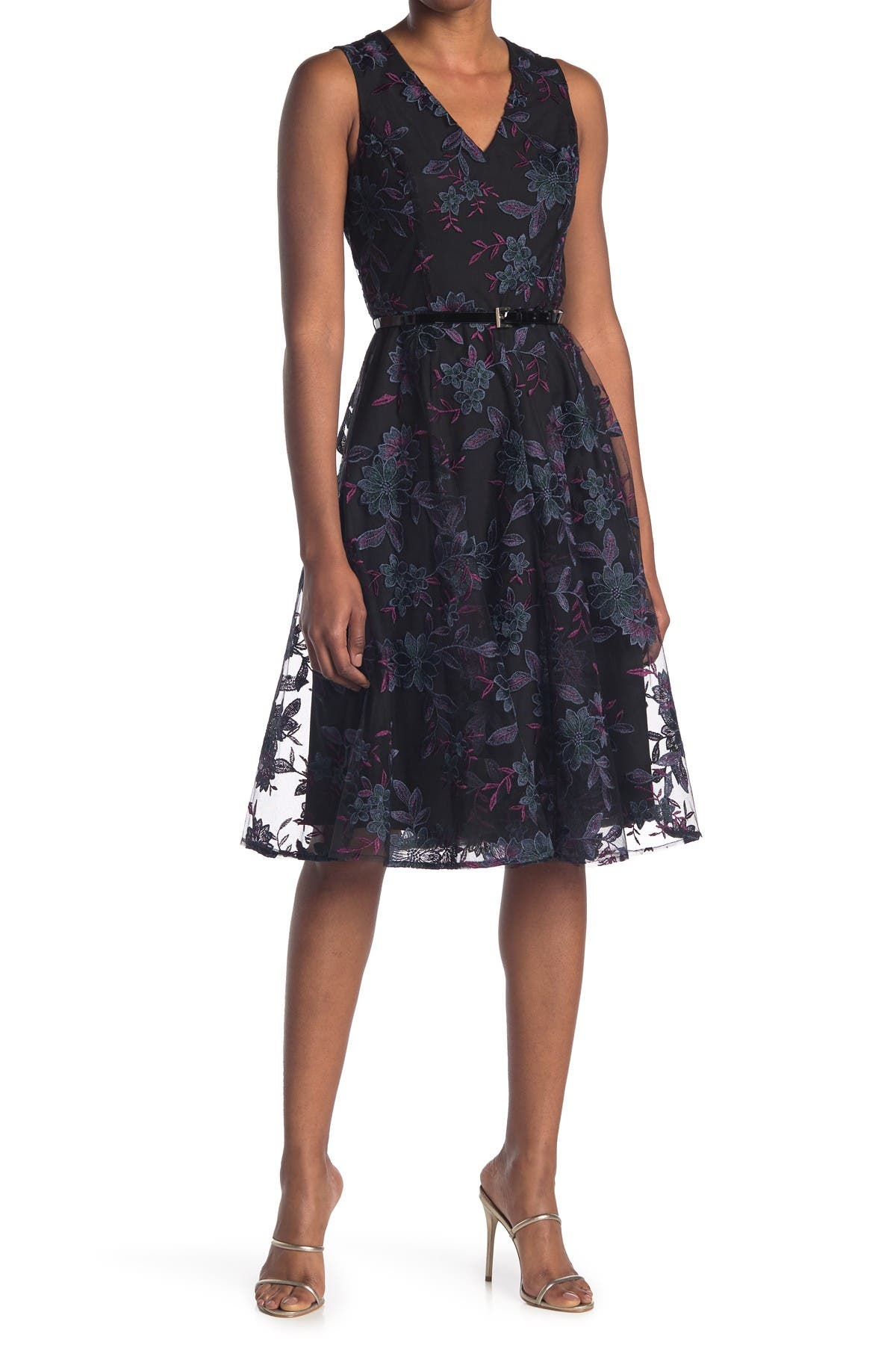 Image of Tommy Hilfiger Mesh Lace Fit & Flare Dress