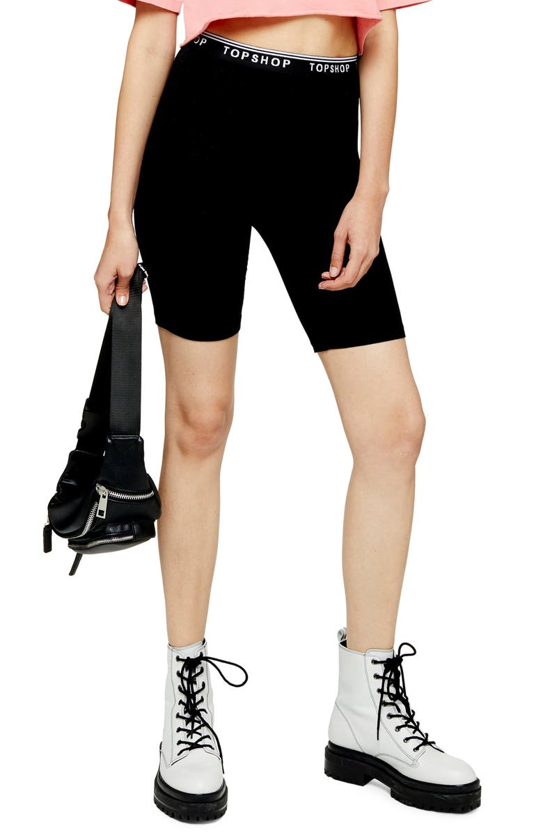TOPSHOP Bike Shorts, Main, color, BLACK