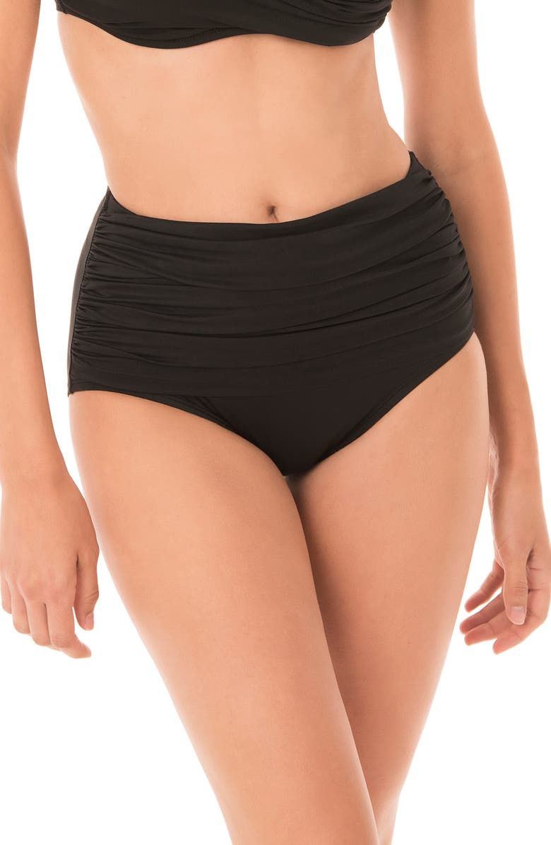 MIRACLESUIT<SUP>®</SUP> Norma Jean High Waist Bikini Bottoms, Main, color, BLACK
