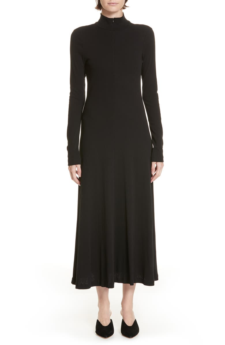 ROSETTA GETTY Turtleneck Jersey Dress, Main, color, 001