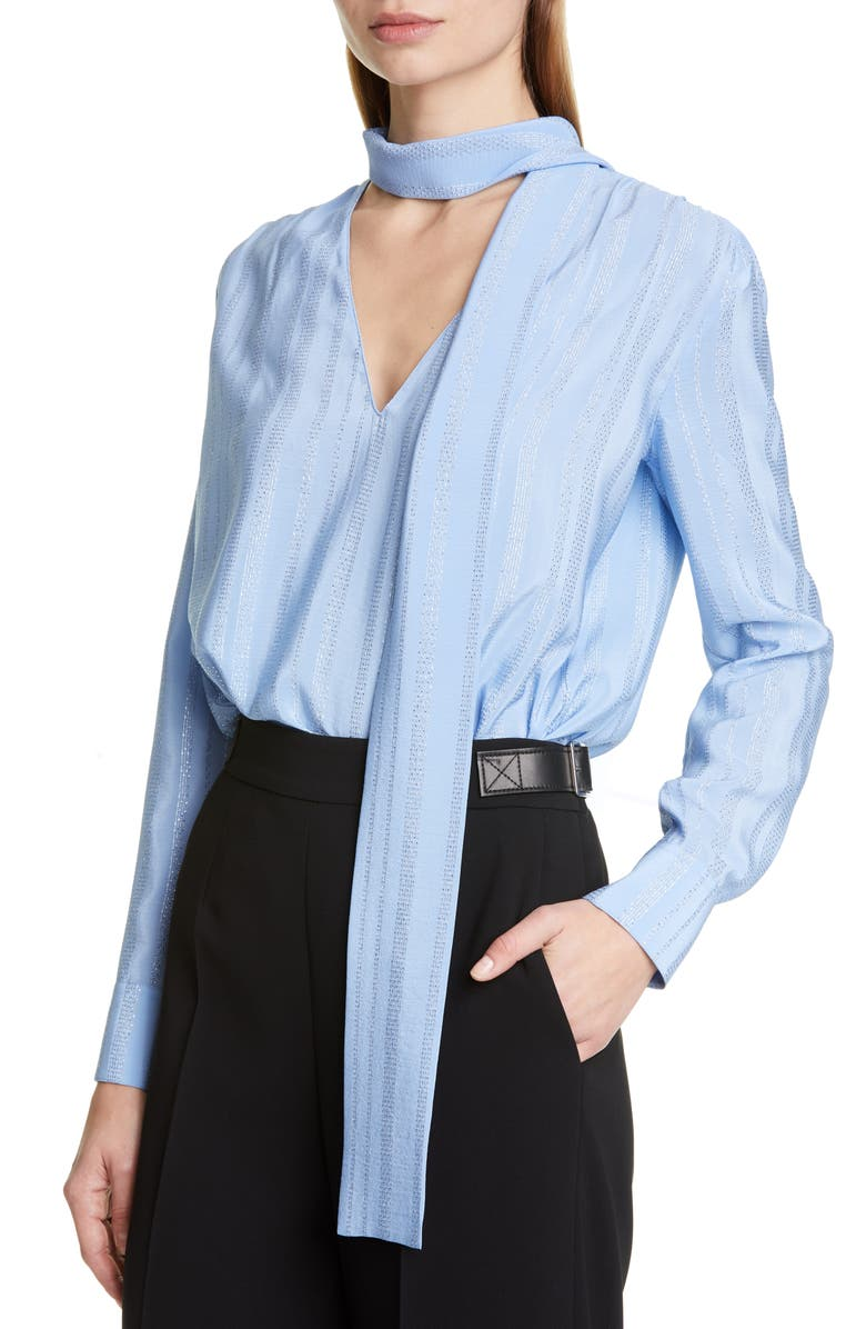 ALTUZARRA Metallic Stripe Tie Neck Blouse, Main, color, FLAX FLOWER