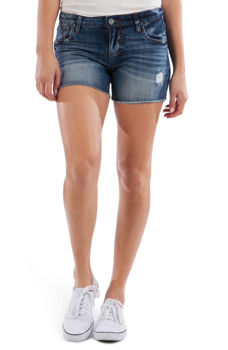 KUT FROM THE KLOTH Gidget Distressed Fray Hem Denim Shorts, Main, color, OPENMINDED