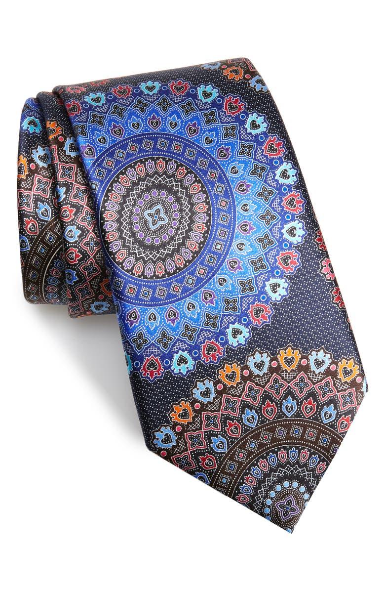 ERMENEGILDO ZEGNA Quindici Medallion Silk Tie, Main, color, NAVY