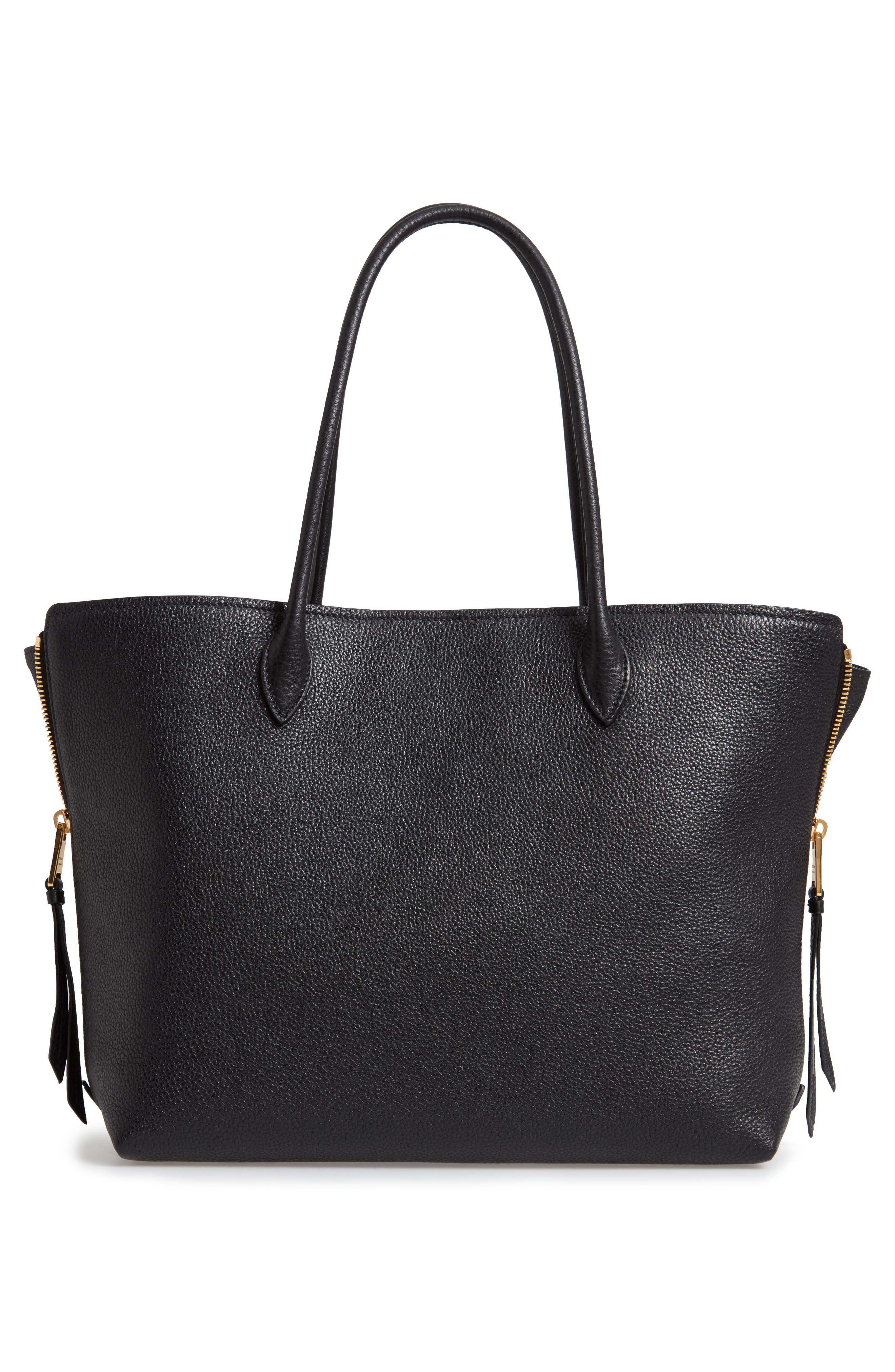 ,                             Daino Side Zip Leather Shopper,                             Alternate thumbnail 3, color,                             NERO