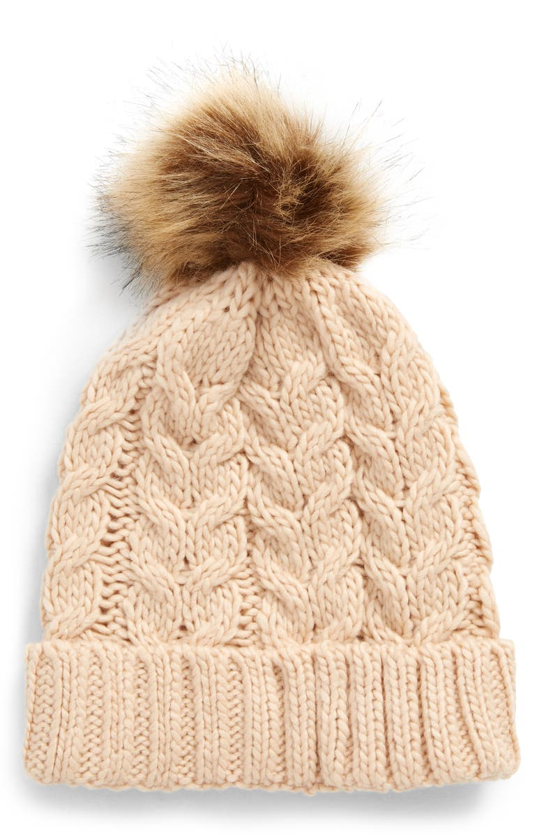 BP. Knit Beanie with Faux Fur Pompom, Main, color, 650