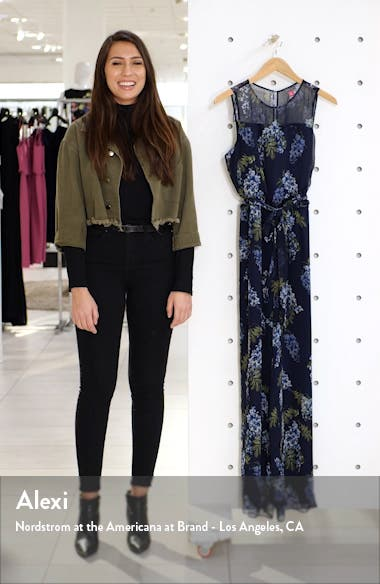 Weeping Willows Floral Sleeveless Jumpsuit, sales video thumbnail