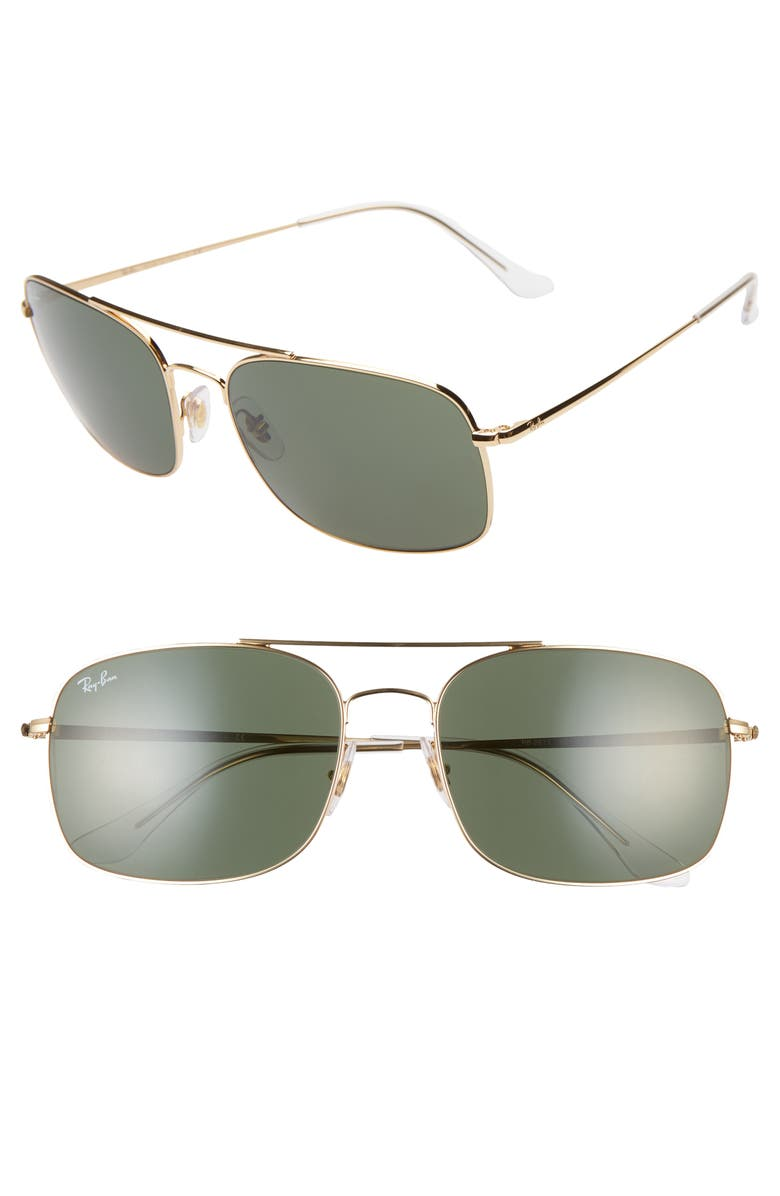 RAY-BAN 60mm Navigator Sunglasses, Main, color, GOLD