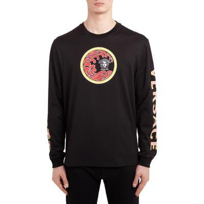 Versace Wave Logo Long Sleeve T-Shirt, Black