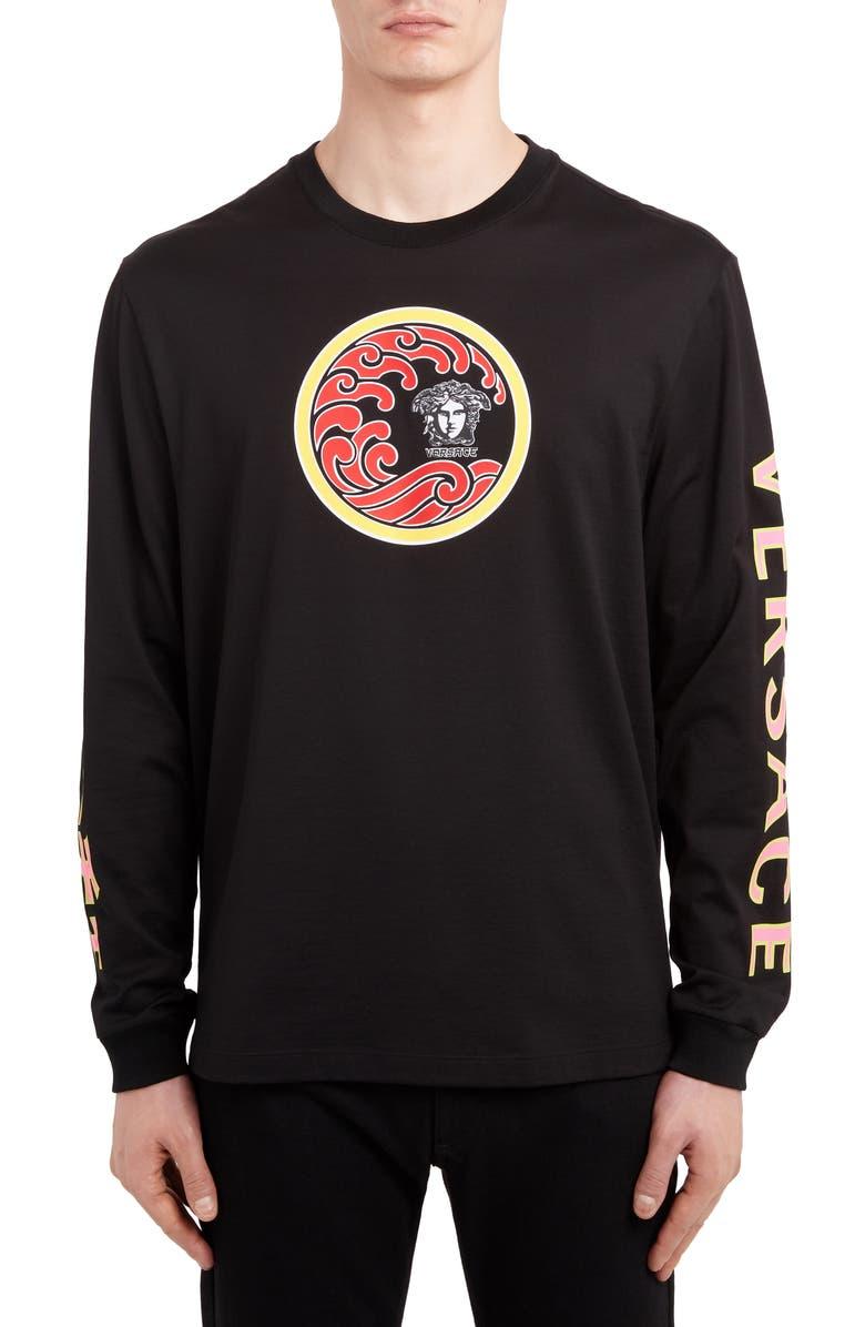 VERSACE FIRST LINE Versace Wave Logo Long Sleeve T-Shirt, Main, color, BLACK