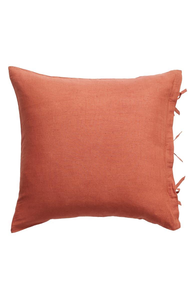 TREASURE & BOND Relaxed Cotton & Linen Euro Sham, Main, color, BROWN RUSTIC