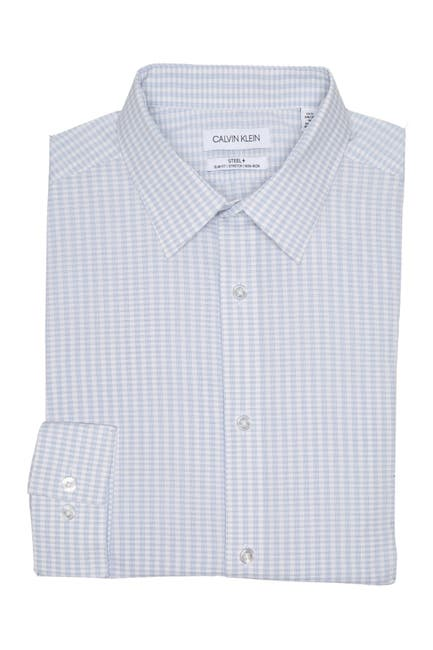 Image of Calvin Klein Micro Print Long Sleeve Slim Fit Shirt
