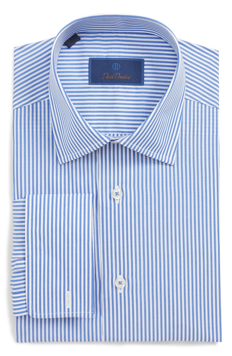 DAVID DONAHUE Regular Fit Stripe Dress Shirt, Main, color, BLUE/ WHITE