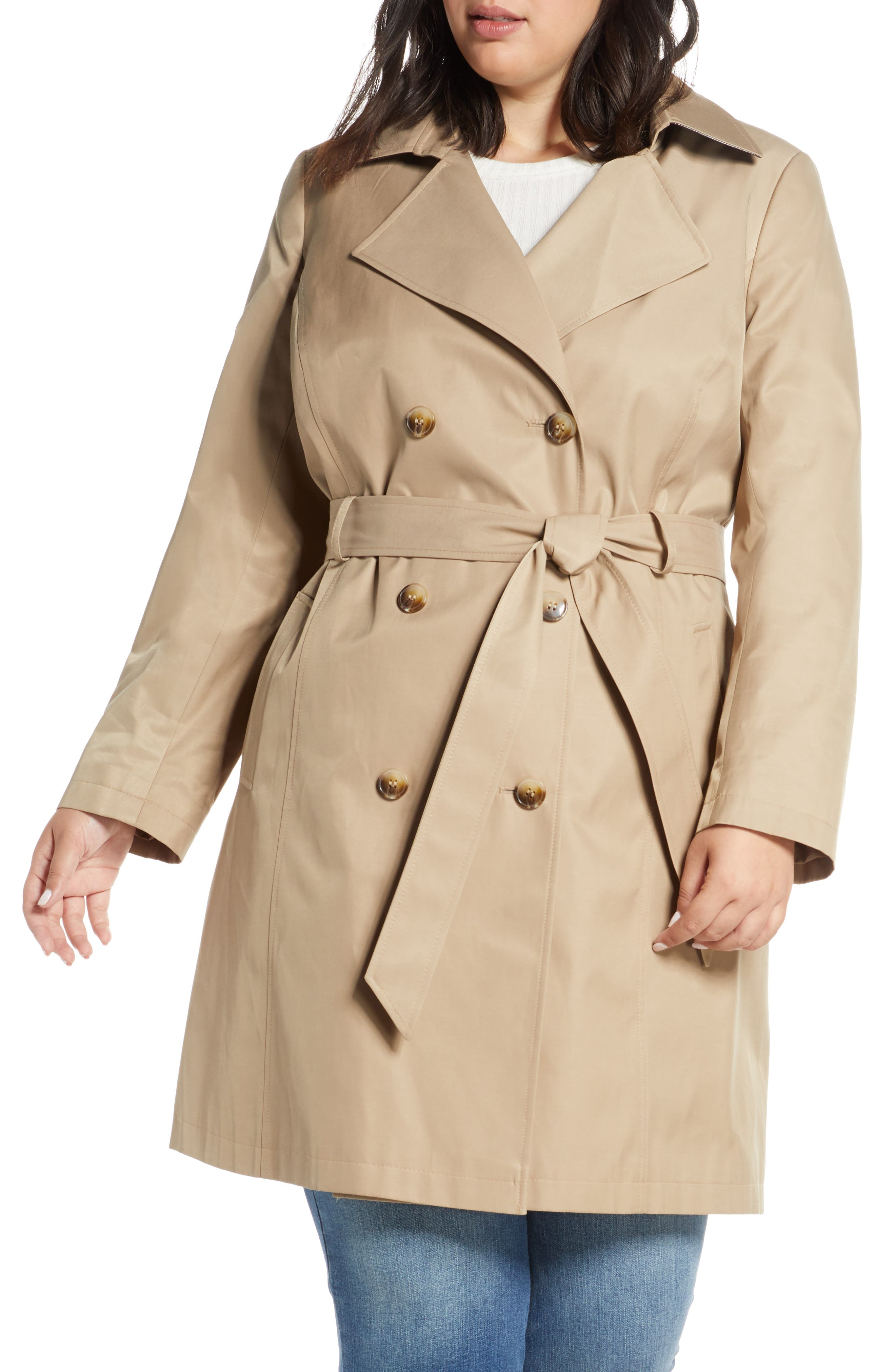 Sam Edelman Double Breasted Trench Coat (Plus Size)