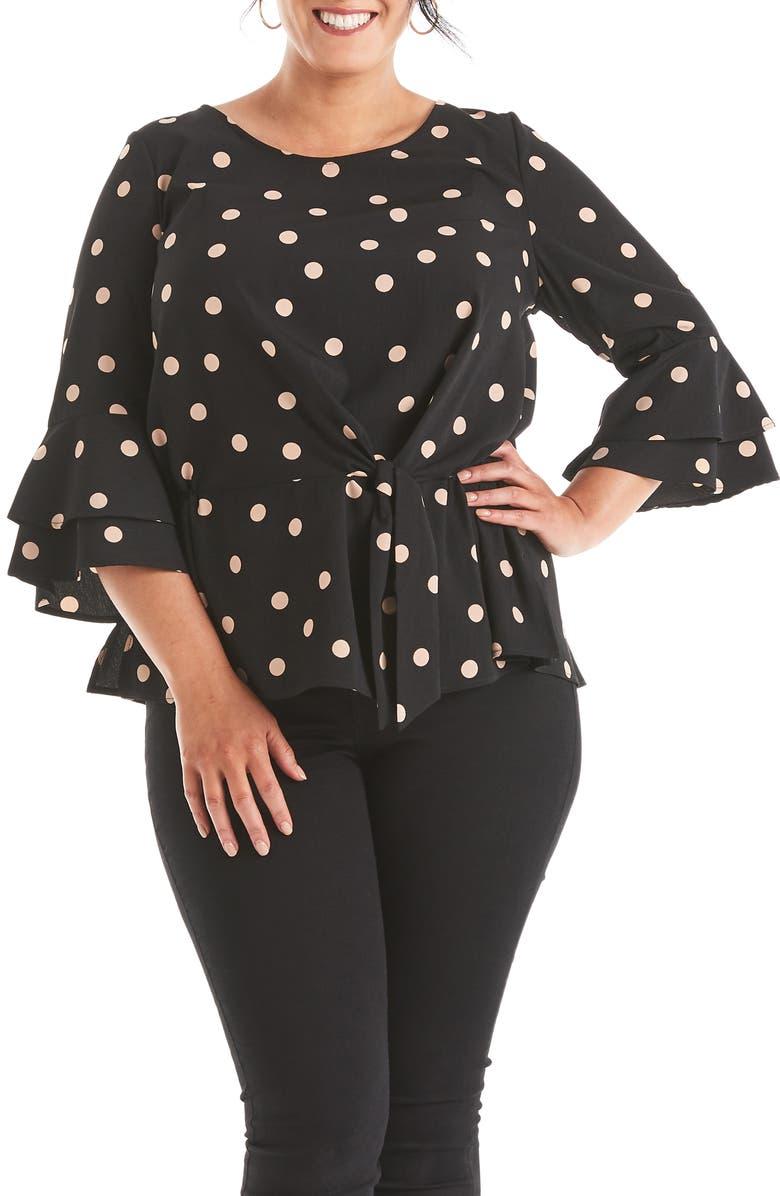 ESTELLE Madeline Polka Dot Wrap Front Top, Main, color, BLACK/BEIGE