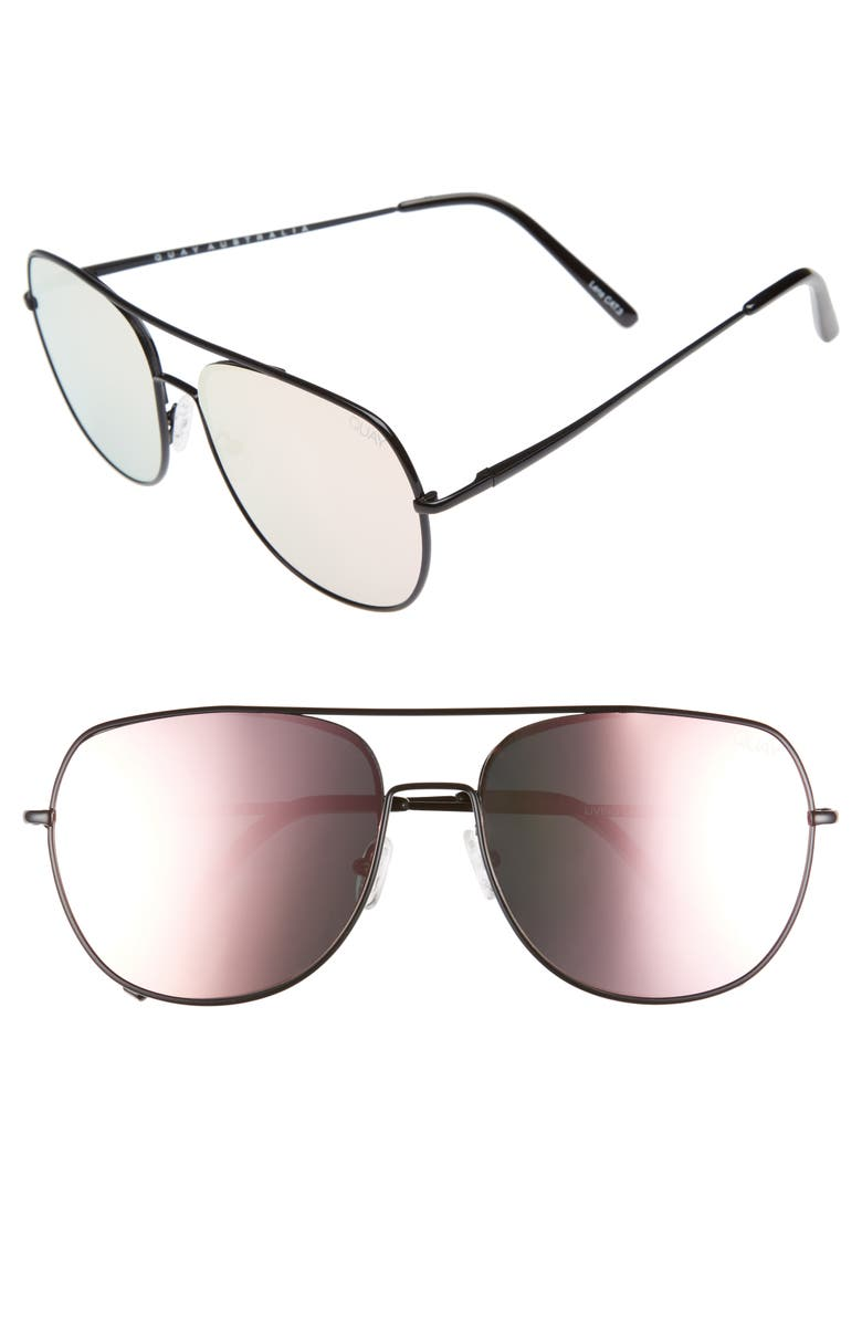 QUAY AUSTRALIA Living Large 60mm Mirrored Aviator Sunglasses, Main, color, 001