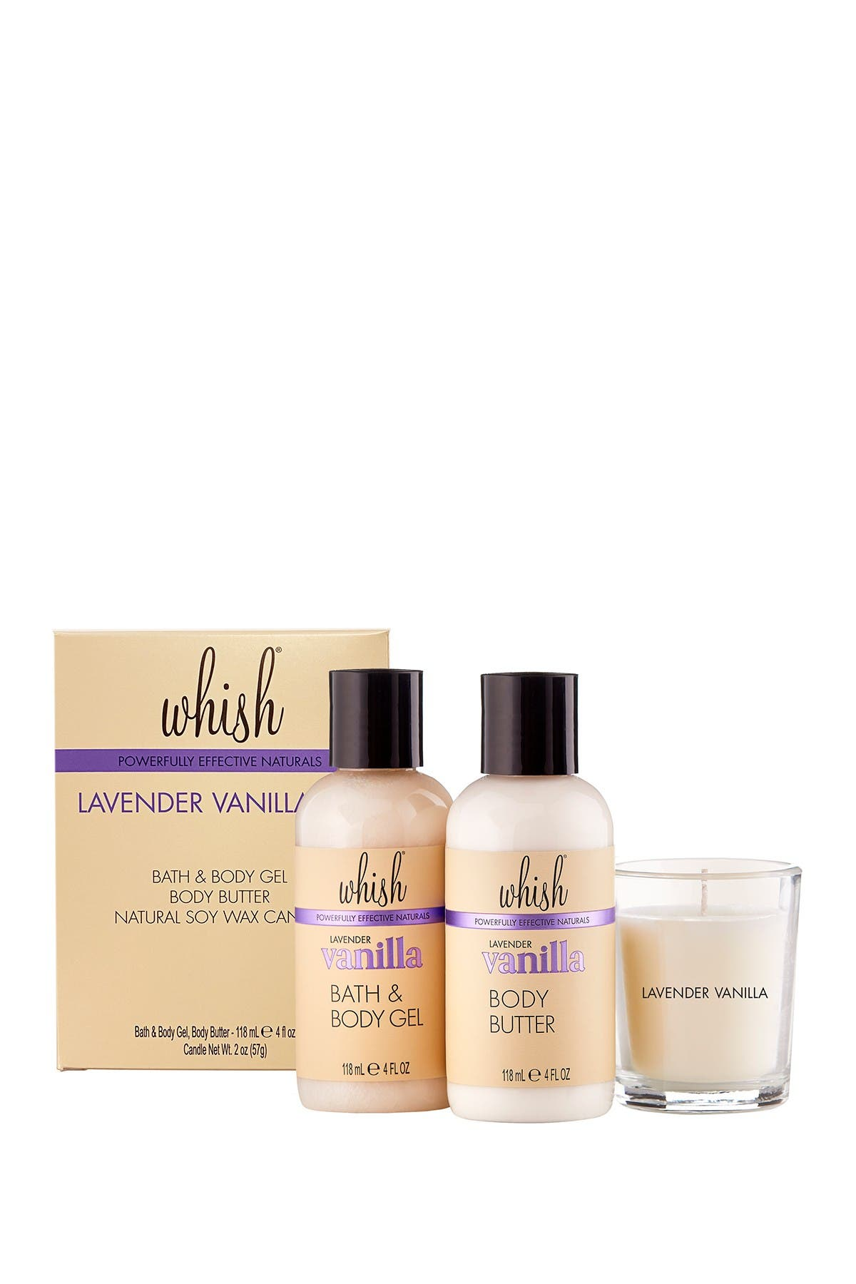 Image of Whish Lavender Vanilla Set - Includes 4oz Bath & Body Gel, 4oz Body Butter & 2oz Votive Candle