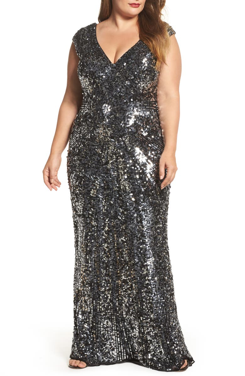 MAC DUGGAL Sequin Plunging V-Neck Gown, Main, color, 001
