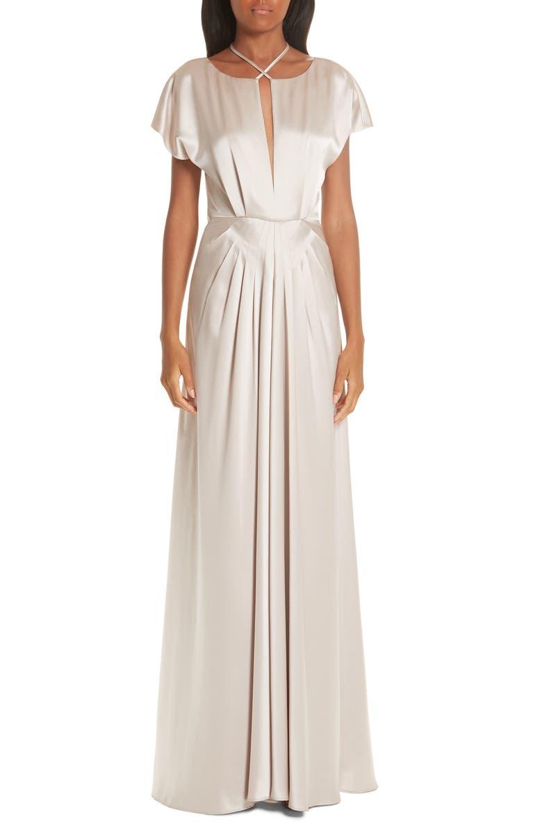 ZAC ZAC POSEN Perry Halter Evening Dress, Main, color, SPARROW