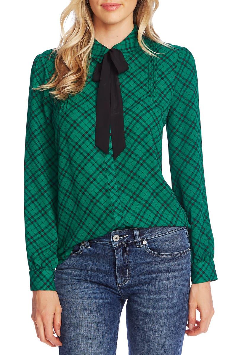 CECE Plaid Pintuck Tie Neck Long Sleeve Blouse, Main, color, RICH KELLY