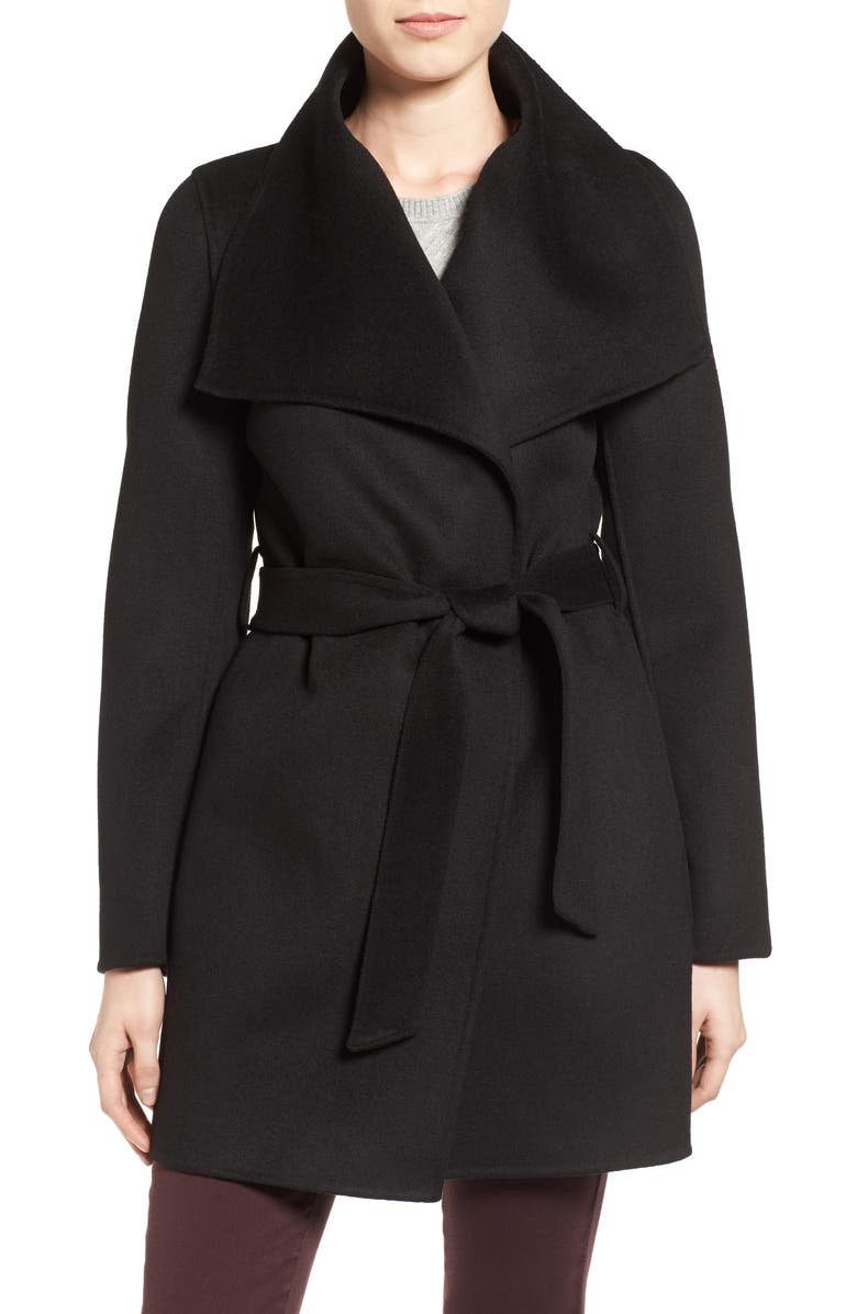 TAHARI 'Ella' Belted Double Face Wool Blend Wrap Coat, Main, color, 001