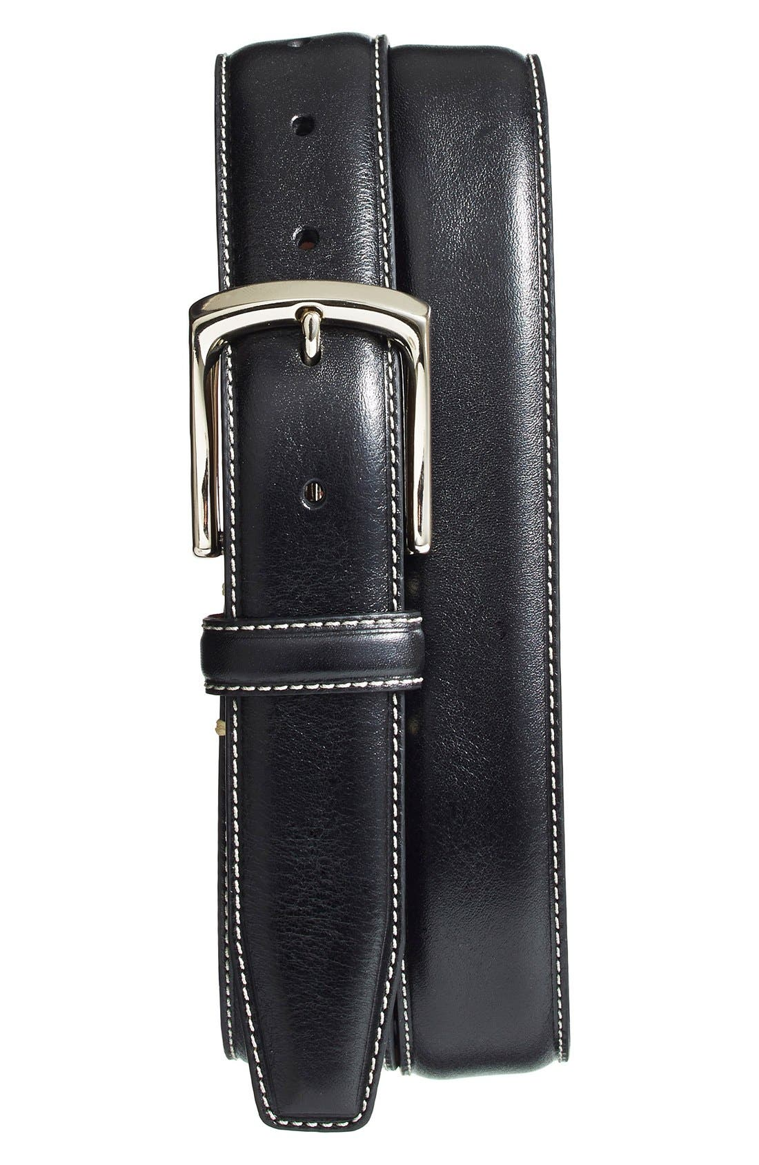 Immaculate contrast topstitching outlines a beautifully burnished leather belt secured by a gleaming buckle. Style Name: Torino Burnished Leather Belt. Style Number: 5080292. Available in stores.