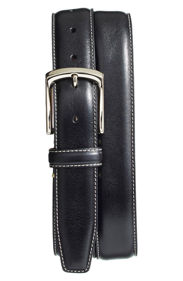 TORINO Burnished Leather Belt, Main, color, BLACK