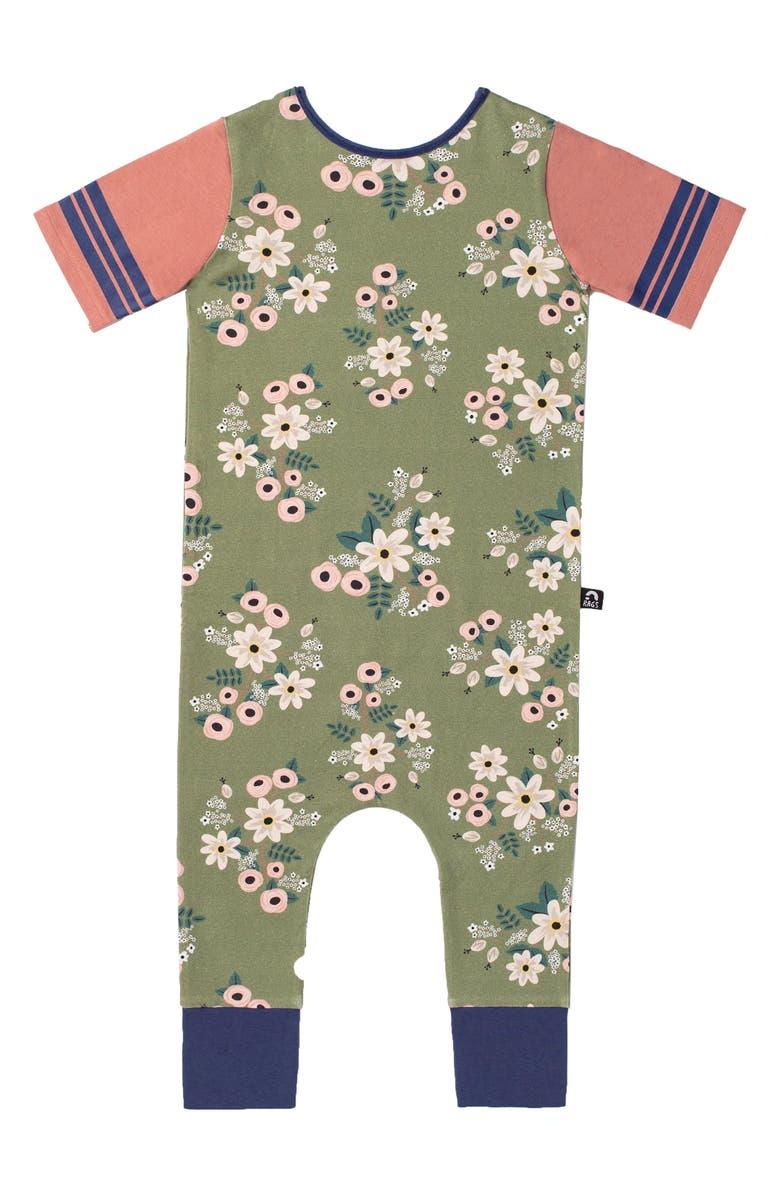 RAGS Retrol Floral Print Romper, Main, color, OLIVE PAINT FLORAL