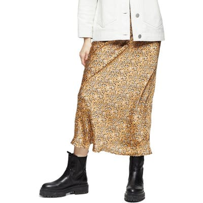 Topshop Animal Print Bias Cut Maxi Skirt, US - Beige