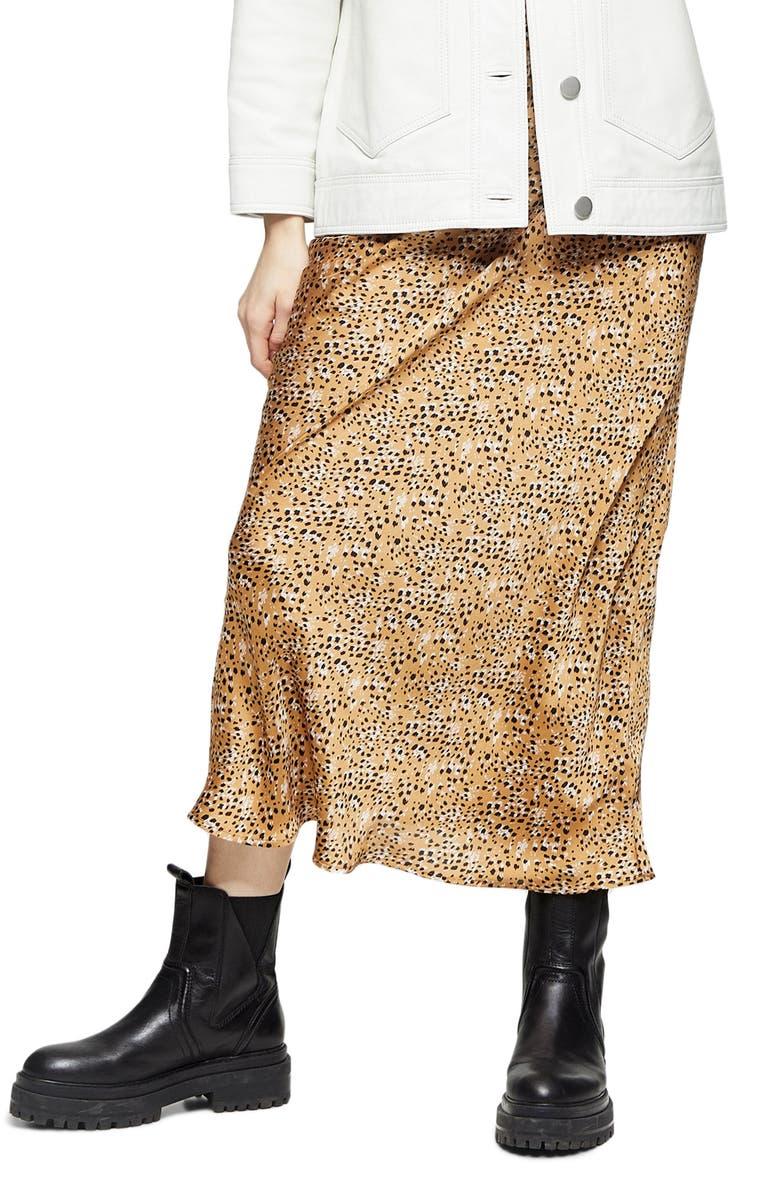 TOPSHOP Animal Print Bias Cut Maxi Skirt, Main, color, NUDE MULTI