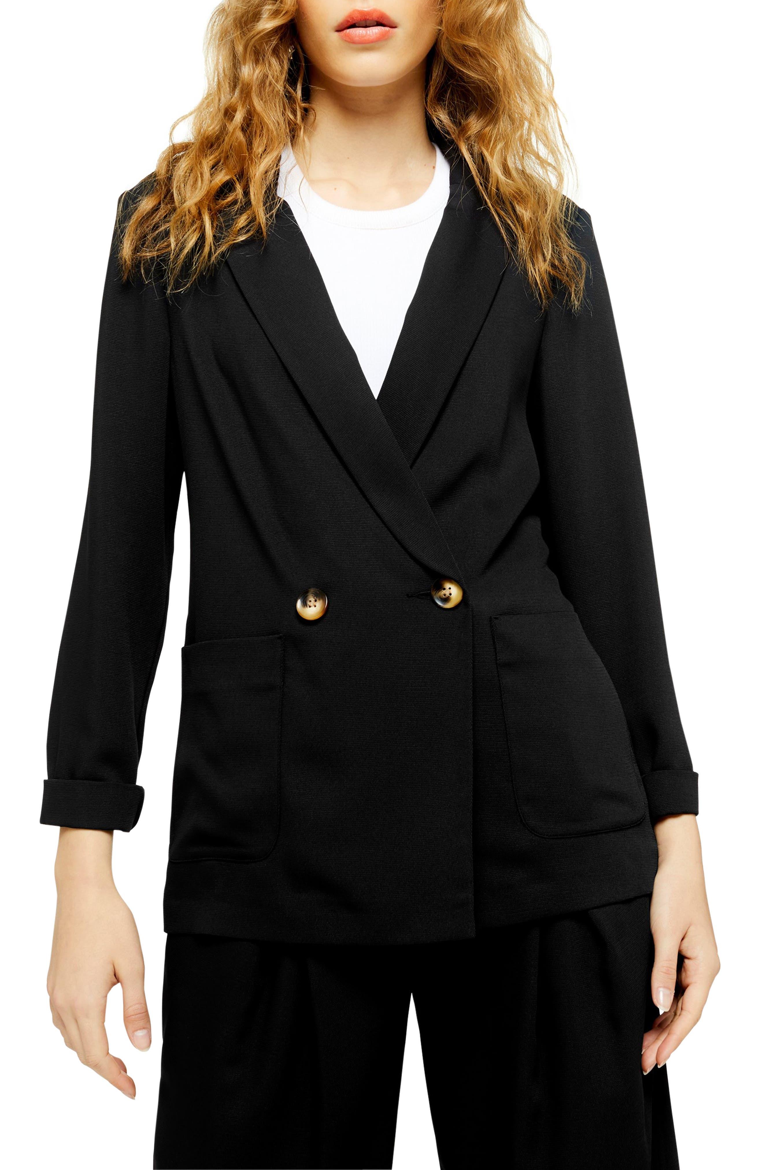 Vintage Suits Women | Work Wear & Office Wear Womens Topshop Geeta Blazer Size 0 US fits like 00 - Black $75.00 AT vintagedancer.com