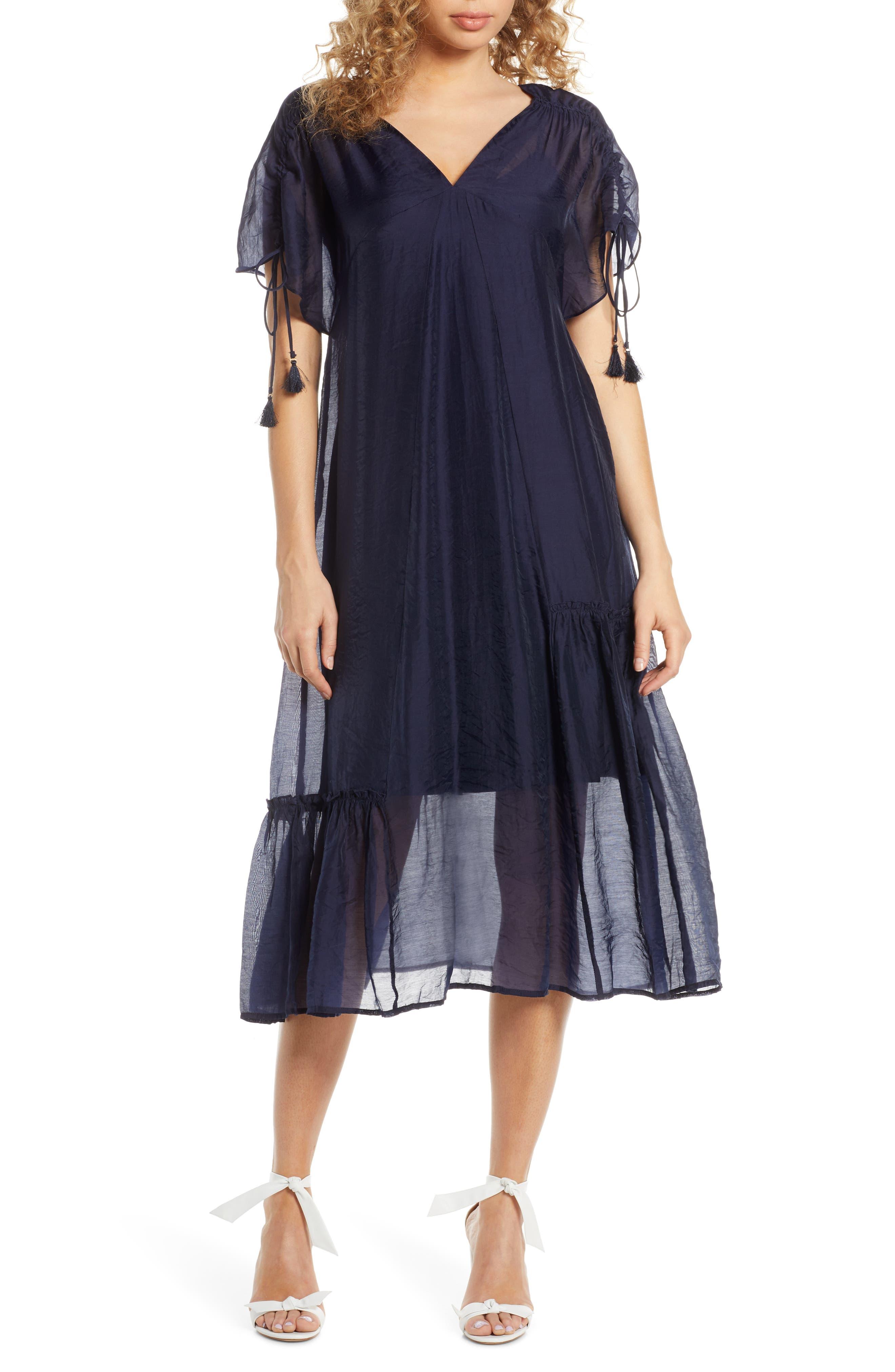 Caara Kendall Tie Sleeve Midi Dress, Blue