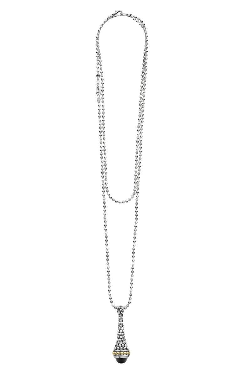 LAGOS Signature Caviar Long Pendant Necklace, Main, color, SILVER/ BLACK ONYX