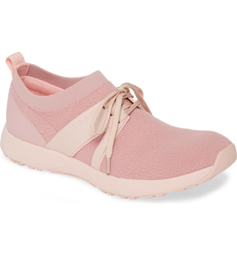 TRAQ BY ALEGRIA Alegria Qool Water Resistant Knit Sneaker, Main, color, THE FUZZ BLUSH FABRIC