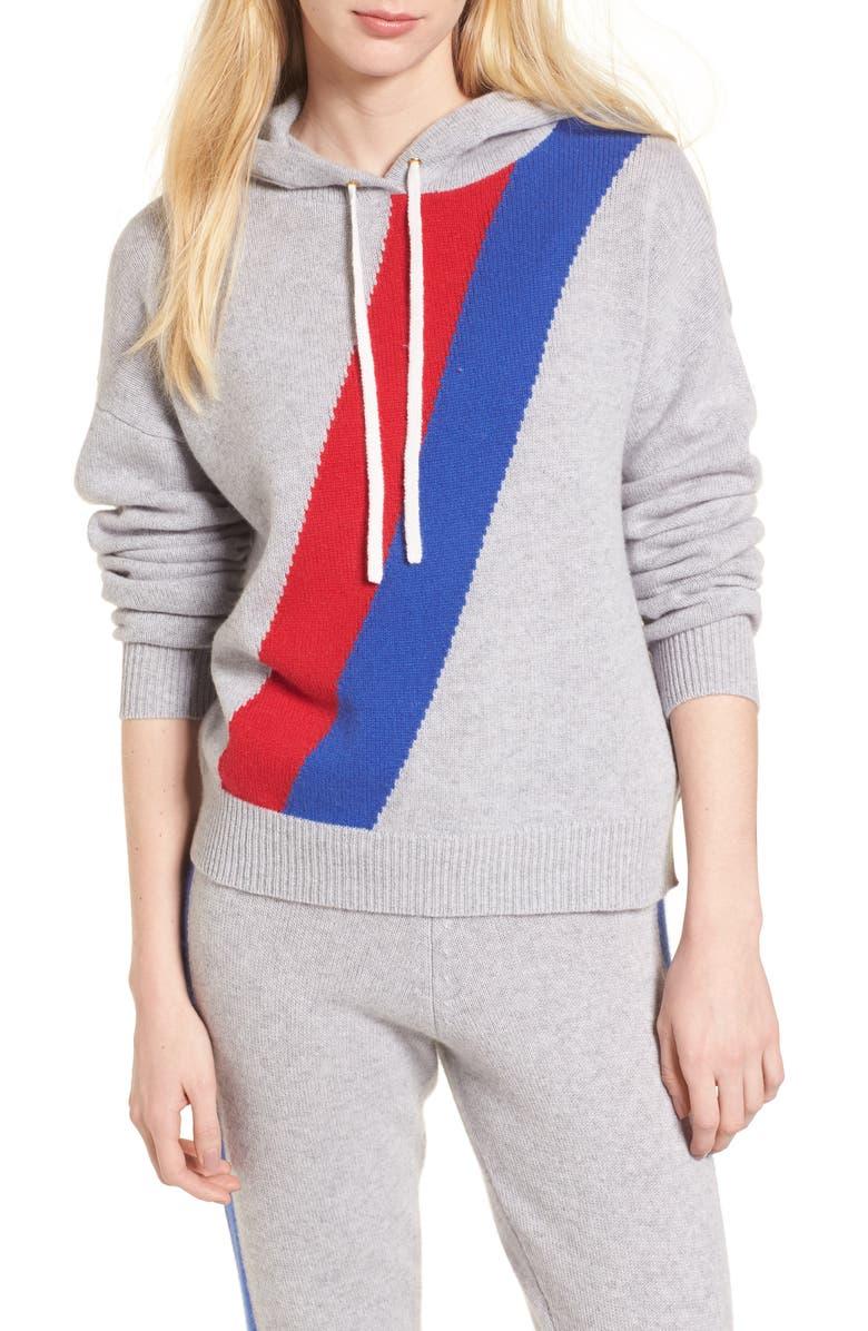 JUICY COUTURE Stripe Cashmere Hoodie, Main, color, COZY BLUE CHIP RICH