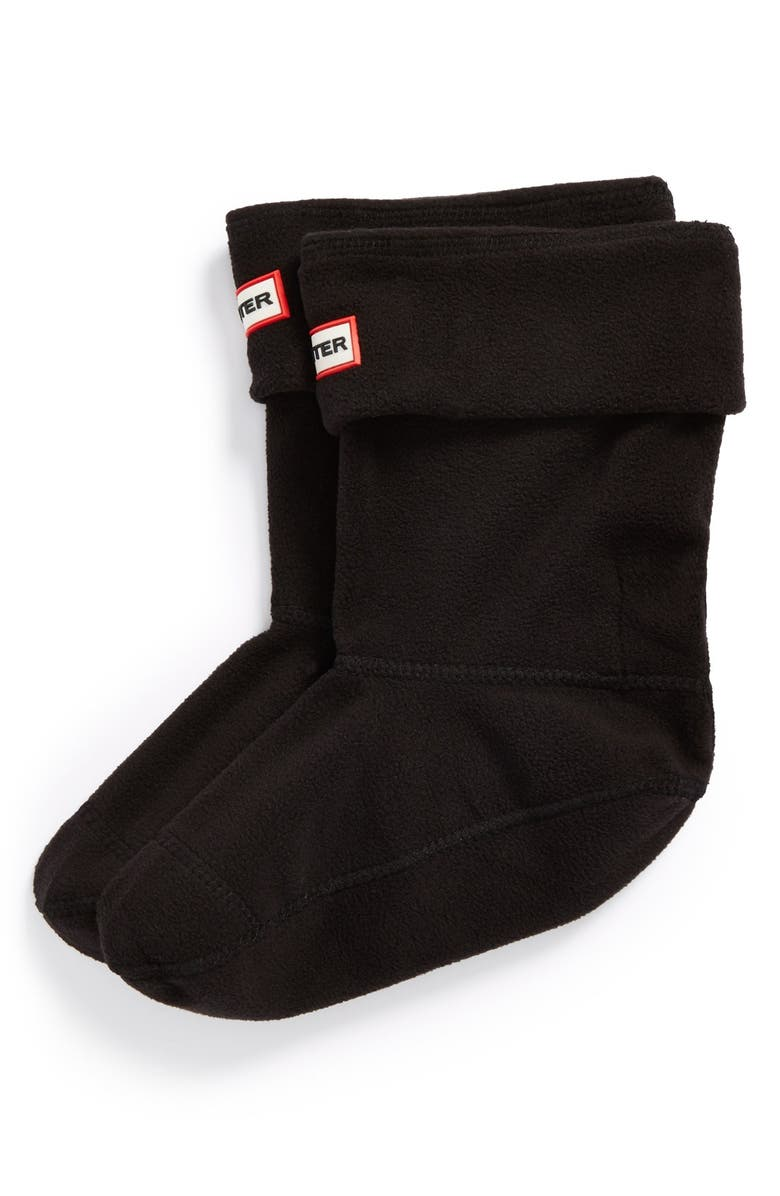HUNTER Short Fleece Welly Boot Socks, Main, color, BLACK FLEECE