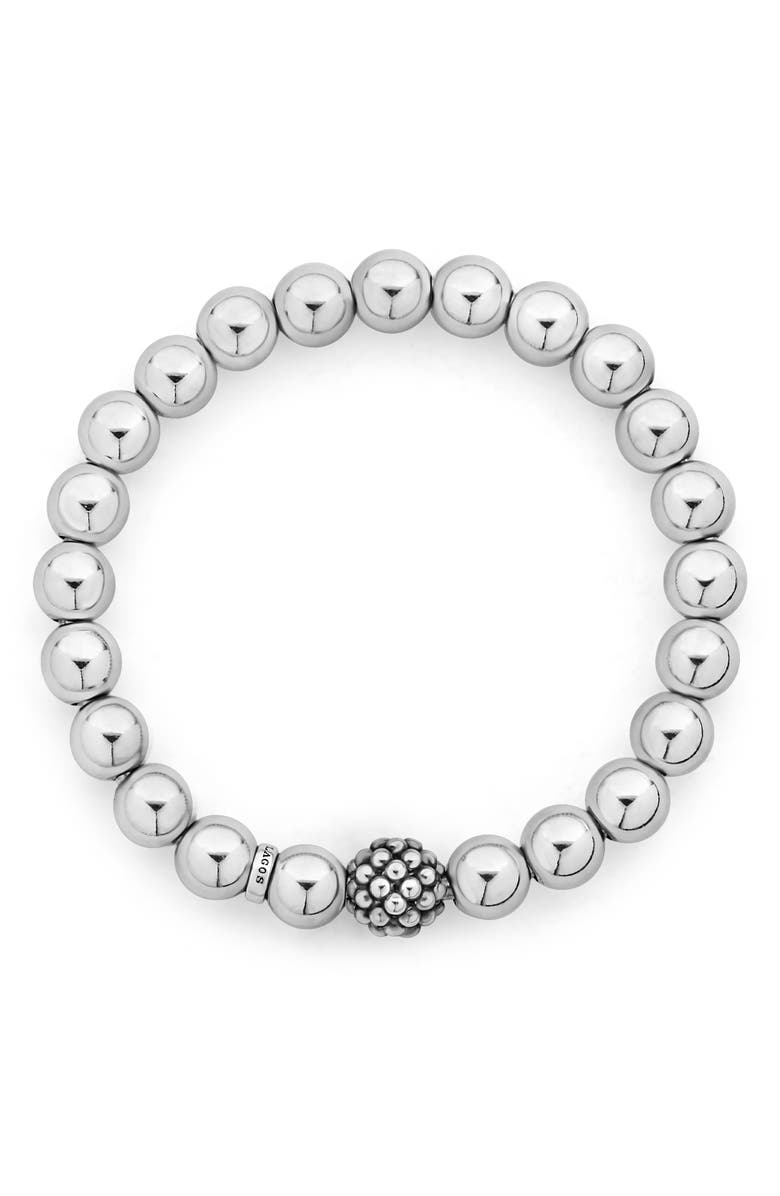 LAGOS Signature Caviar Lattice Ball Stretch Bracelet, Main, color, SILVER